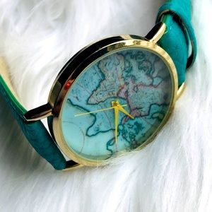 Urban Outfitters Leather Map Watch